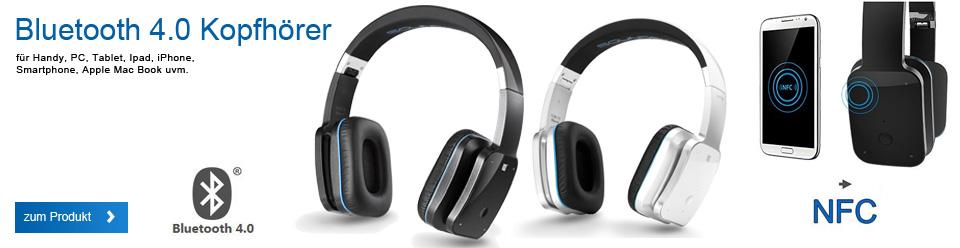 deleyCON SOUNDSTERS Bluetooth Headset Kopfhörer Ohrhörer [Schwarz] Stereo – verstellbare Größe – für Handy, PC, Tablet, iPhone, Smartphone, Apple Mac