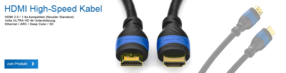 deleyCON [0,5m-15m] HDMI Kabel | HDMI 2.0 / 1.4a kompatibel | High Speed mit Ethernet (Neuster Standard) | ARC | 3D | 4K Ultra HD (1080p/2160p)