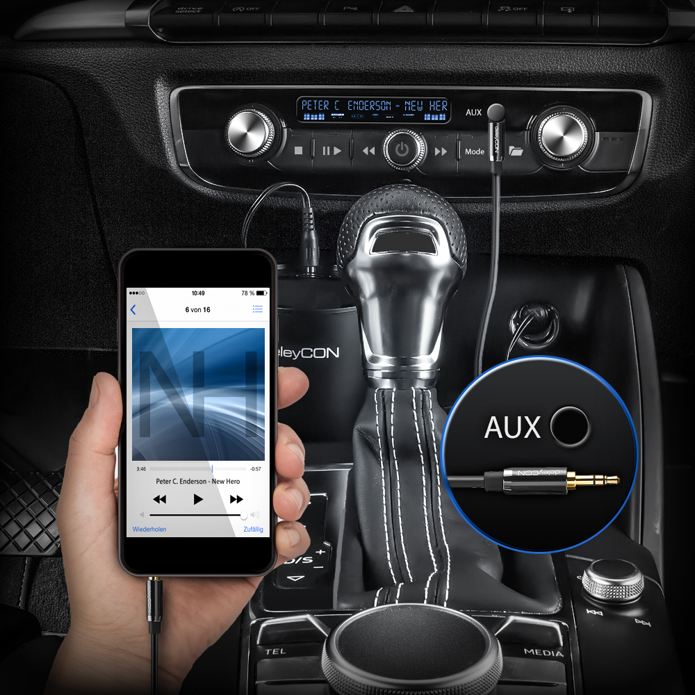 deleyCON 1,5m Klinkenkabel 3,5mm AUX Kabel Stereo Audio Kabel Klinkenstecker 90/° gewinkelt f/ür PC Laptop Handy Smartphone Tablet KFZ HiFi-Receiver schwarz