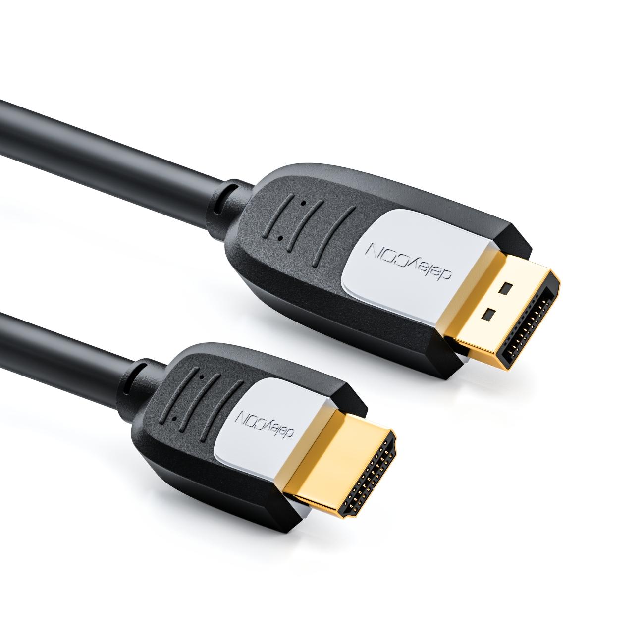 deleyCON DisplayPort zu HDMI Kabel - DP Stecker auf HDMI Stecker - 3 ...