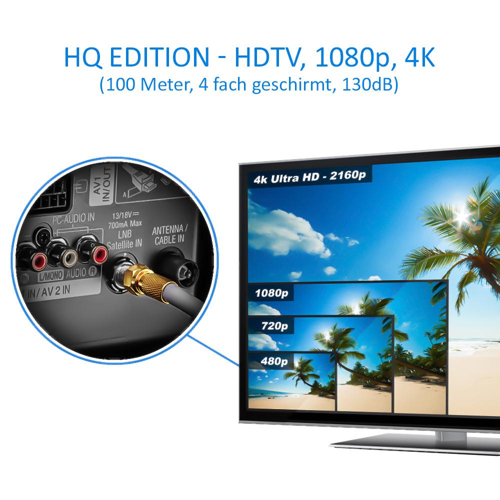 S2 DVB-T und DVB-C Stahl//Kupfer Innenleiter 10x vergoldete F-Stecker inkl 4K 1080p Full HD HDTV deleyCON HQ 20m SAT Koaxial Kabel 130dB 4-Fach geschirmt f/ür DVB-S