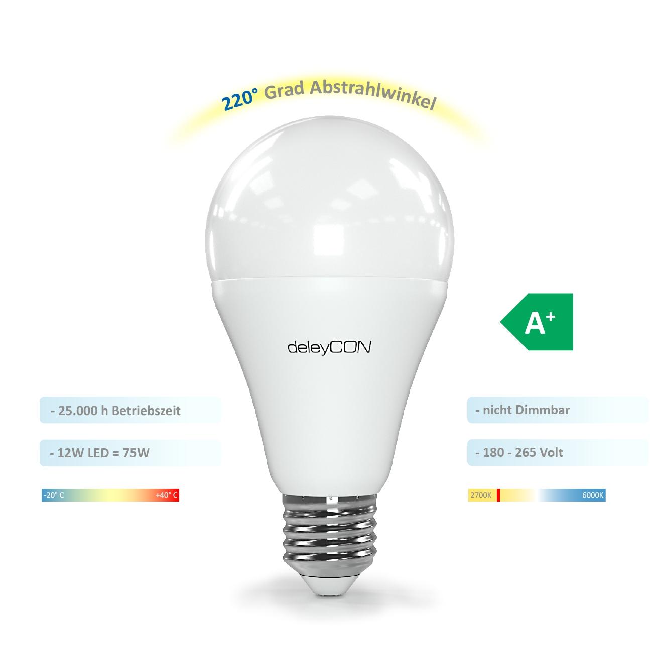 deleycon led energiesparlampe fassung e27 a60 2700k warm wei 12w deleycon deleycon. Black Bedroom Furniture Sets. Home Design Ideas