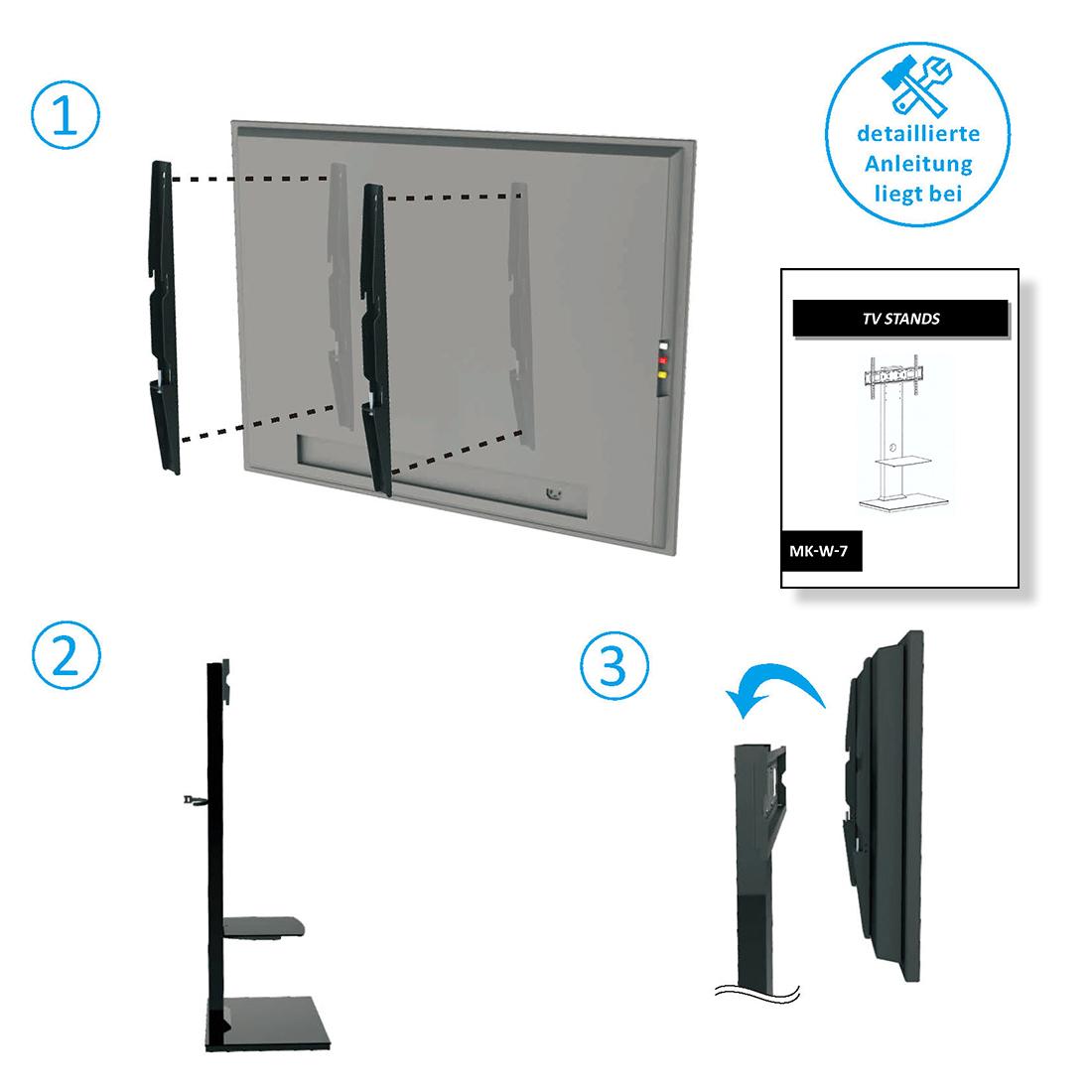 deleycon tv st nder standfu mit glasablage 26 65 zoll bis 40kg schwarz deleycon. Black Bedroom Furniture Sets. Home Design Ideas