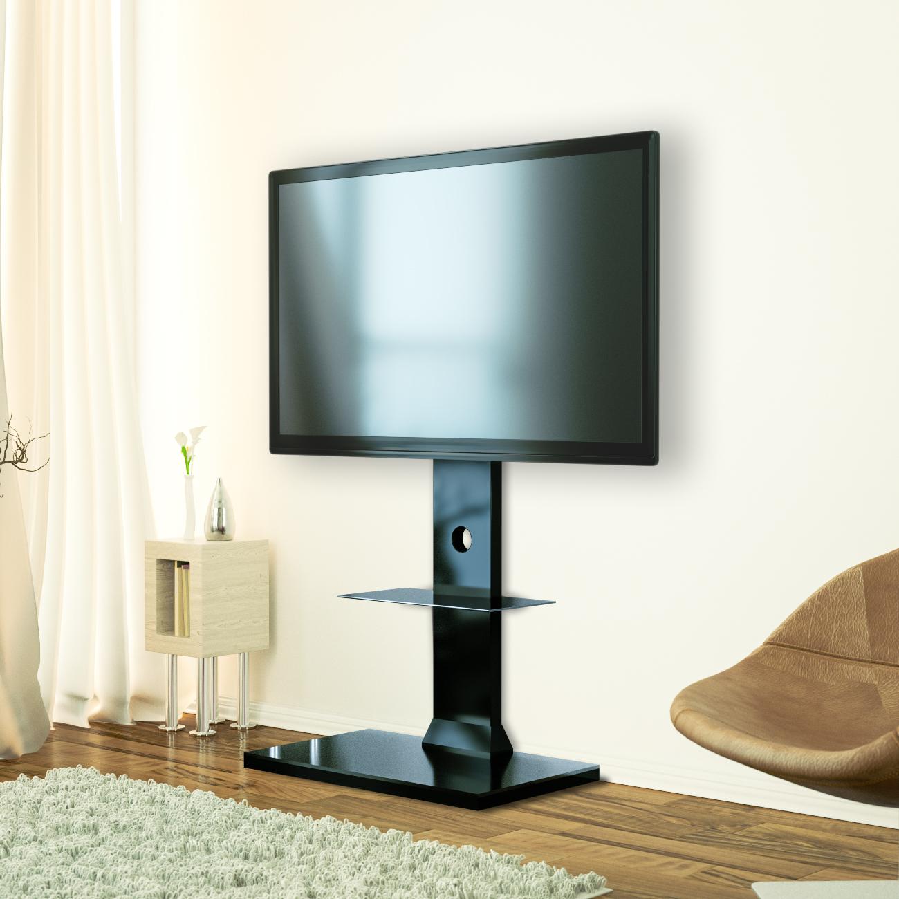 deleycon tv st nder standfu mit glasablage 26 65. Black Bedroom Furniture Sets. Home Design Ideas