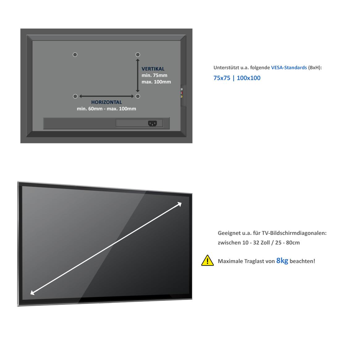 deleycon monitor tischhalterung 10 bis 32 zoll 25cm. Black Bedroom Furniture Sets. Home Design Ideas