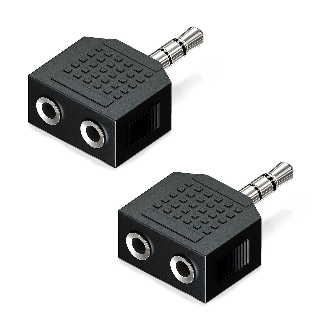 2x Klinkenadapter 2x Kupplungen 3,5mm stereo Metall Verbinder für Kopfhörer